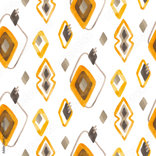 фотография  Seamless rhombuses pattern in scandinavian or folk style using yellow, brown and gray colors