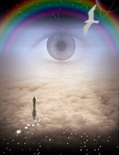 Mans Journey Of The Soul. All Seeing Eye And Rainbow In The Sky