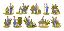 Gardener Working Flat Vector I...