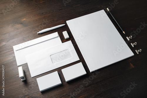 Fototapeta Blank branding stationery set on wood table background. Corporate stationery template. obraz