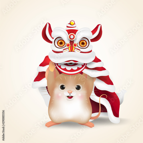 Little Rat or Mouse performs Chinese New Year Lion Dance Fototapet