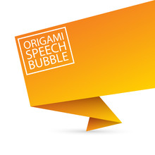 Abstract Orange Origami Speech Bubble Or Banner Isolated On White Background. Ribbon Banner, Scroll, Price Tag, Sticker, Badge, Poster.