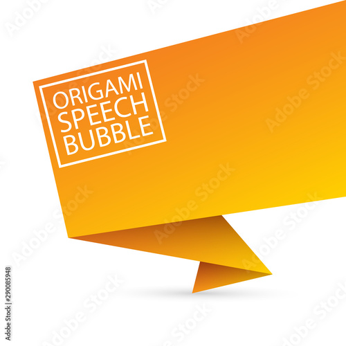 Fototapeta  Abstract orange origami speech bubble or banner isolated on white background