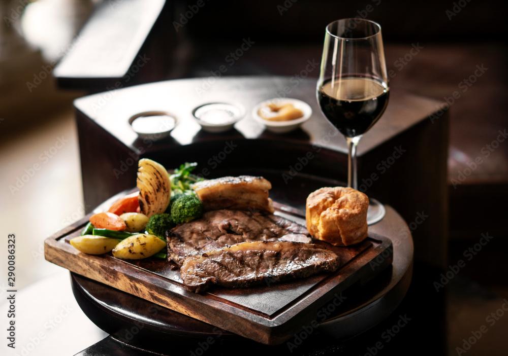 Fototapeta sunday roast beef traditional british meal set on table
