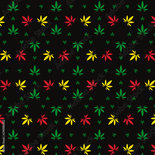 Fotografie, Obraz  Vector seamless geometric marijuana pattern with colorful leaves on black background