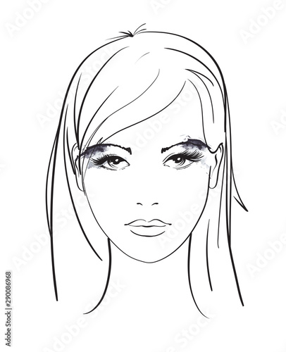 Beautiful young woman with nimbus. Fashion sketch. Fashion girls face. Hand-drawn fashion model. Woman face on a white background.  Hair style