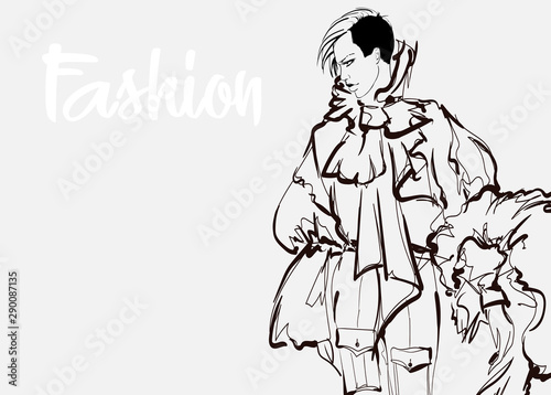 Beautiful young women in a chic blouse. Hand drawn fashion girl. Fashion model posing. Sketch. Vector illustration.