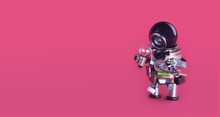 Machine Learning And Creative Idea Concept. Funny Robotic Toy Holds Light Bulb. Creative Design Futuristic Robot On Pink Background. Copy Space For Advertising Text