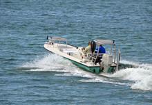 Small Fishing Skiff Off Miami Beach On The Florida Intra-Coastal Waterway
