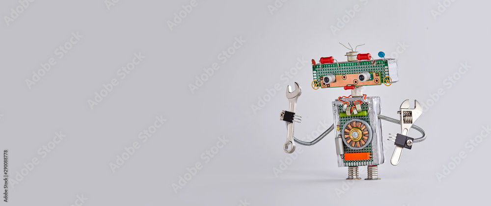 Fototapety, obrazy: Automation maintenance robotic service works concept. Hand wrench adjustable spanner robot handyman on gary background. Copy space