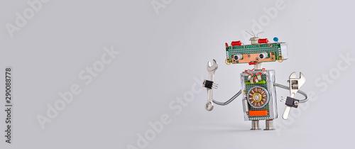 Obraz Automation maintenance robotic service works concept. Hand wrench adjustable spanner robot handyman on gary background. Copy space - fototapety do salonu