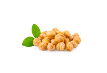 Roasted Chick Peas With Salt  On White Background