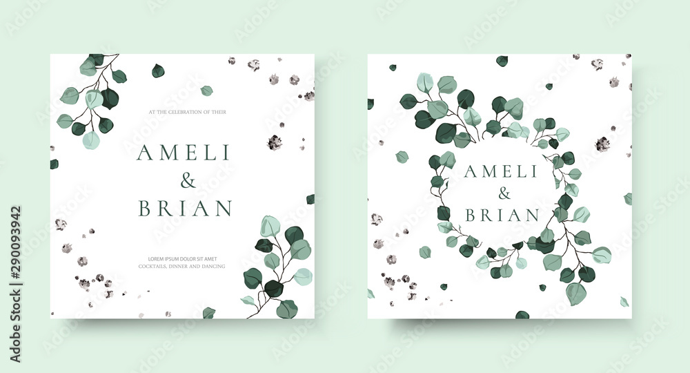 Fototapety, obrazy: Wedding invitation card with silver dollar eucalyptus greenery leaves floral branches minimalist save the date design wreath and frame. Botanical mint green foliage plant rustic vector illustration