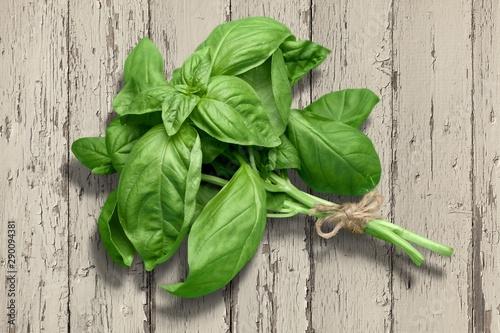Tela  Green basil leaves on wooden background