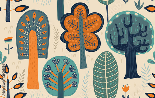 mata magnetyczna Vector seamless pattern with hand drawn forest trees, plants, flowers