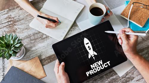 Obraz New product development business concept on device screen. - fototapety do salonu