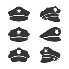 Vector Black Police Hat Icons ...