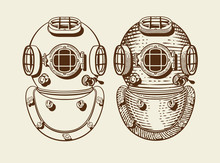 Old Style Diver Helmets With A...