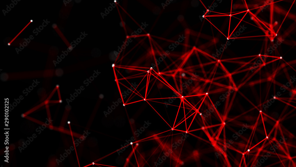 Fototapeta Red abstract polygonal space with connecting dots and lines. Dark background. Connection structure. 3d
