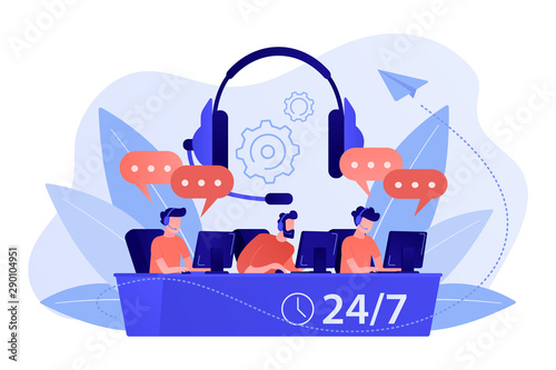 Customer service operators with headsets at computers consulting clients 24 for 7 Fototapeta