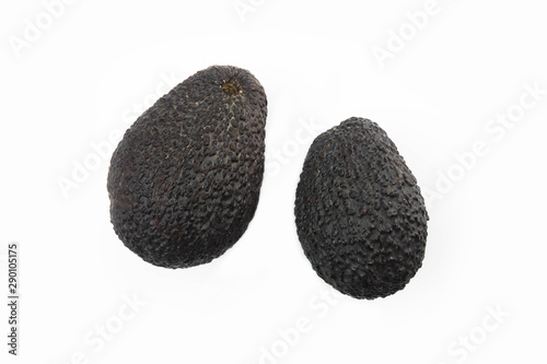 Two isolated avocados on white background. Canvas Print