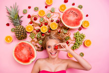 Vertical Side Profile Top Above High Angle View Photo Beautiful She Her Lady Lying Down Different Fruit Slices Hide Eye By Berry Heal Body Skin Complex Gel Cream Wash Lotion Isolated Pink Background