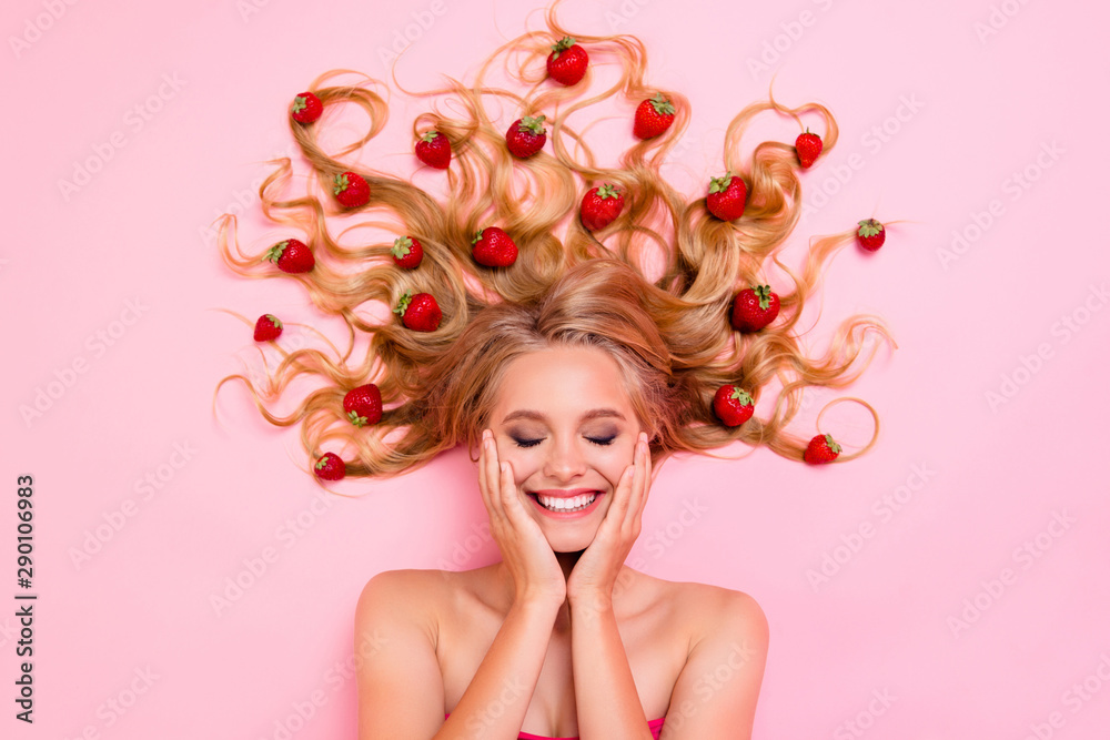 Fototapeta Close up top above high angle view photo beautiful very glad skin condition she her lady lying down among fruits strawberries long hair full vitamins complex eyes closed isolated pink background