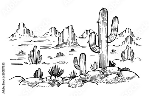Foto auf AluDibond Weiß Sketch of the desert of America with cacti. Prairie landscape. Hand drawn vector illustration