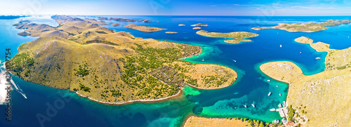Obraz na plátně  Amazing Kornati Islands national park archipelago panoramic aerial view