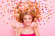 Leinwanddruck Bild - Close up top above high angle view photo beautiful she her lady show v-sign lying down sweets ideal hair colored little candies trying lolly pop wearing classy chic dress isolated pink background