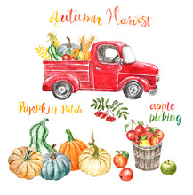 Watercolor Fall Red Harvest Truck With Autumn Seasonal Vegetables And Fruits, Isolated. Hand Painted Cartoon Retro Car, Pumpkins, Corn, Apples. Pumpkin Patch Illustration For Thanksgiving Day.