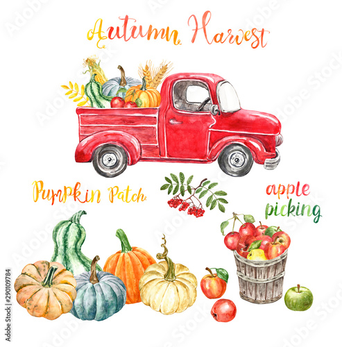 Keuken foto achterwand Cartoon cars Watercolor red harvest truck with autumn seasonal vegetables and fruits, isolated. Hand painted cartoon abstract retro car, pumkins, corn, apples. Pumpkin patch illustration for Thanksgiving day.