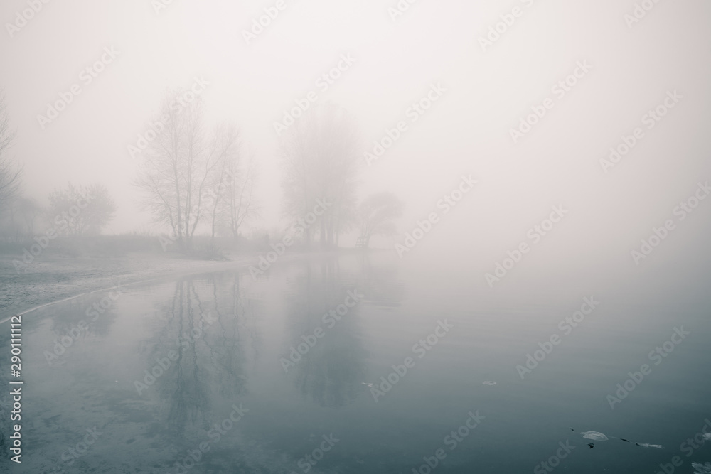 Fototapety, obrazy: Dreamy river bank with trees and reflections in the water at foggy autumn morning.