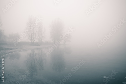 Foto auf Leinwand Weiß Dreamy river bank with trees and reflections in the water at foggy autumn morning.