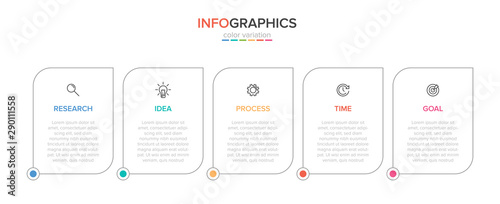 Infographic design with icons and 5 options or steps Poster Mural XXL