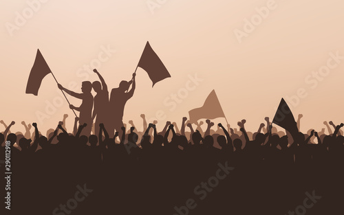 Obraz na plátně Silhouette group of protesters people Raised Fist and flags in flat icon design