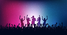 Silhouette Of People Raise Hand Up In Concert With Female Dancing On Stage And Digital Dot Pattern On Blue And Red Color Background