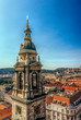 Bell tower of St. Stephen's Basilica and panorama of Budapest, aerial view