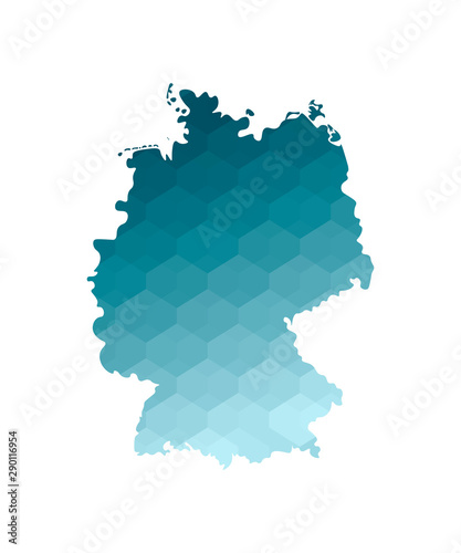 Photo Vector isolated illustration icon with simplified blue silhouette of Germany map