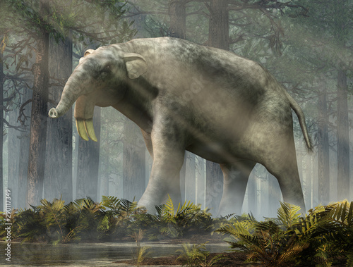 Fotografía The hoe tusker, or Deinotherium (terrible beast), was a prehistoric relative of Elephants with strange downward-curving tusks from its lower jaws