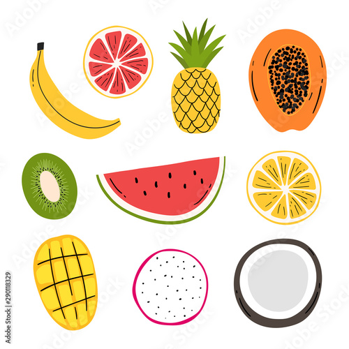 Hand drawn decorative fruits set for print, decor. Kids illustration. - 290118329