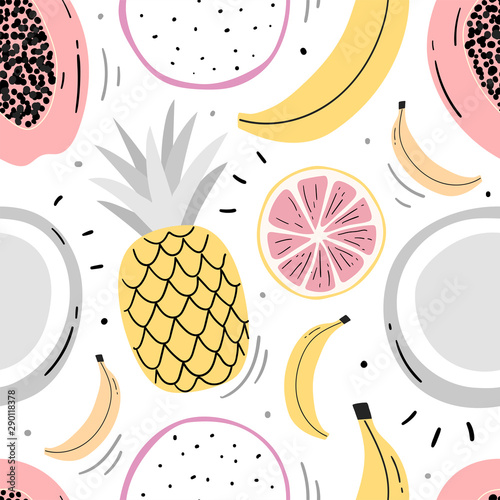 Hand drawn fruits seamless pattern for print, textile, wallpaper. Kids decorative fruits background. - 290118378