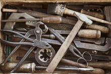 Box With The Different Old Hand Tools