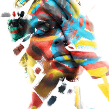 Paintography. Double Exposure Of An Attractive Male Model With Closed Eyes And Hand Covering Face Combined With Colorful Hand Drawn Paintings