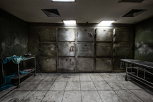 View Of Dark Mortuary Room Abandoned In The Psychiatric Hospital