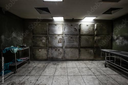 View of dark Mortuary room abandoned in the Psychiatric Hospital Wallpaper Mural