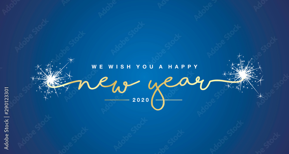 Fototapeta We wish you Happy New Year 2020 handwritten lettering tipography sparkle firework gold white blue background