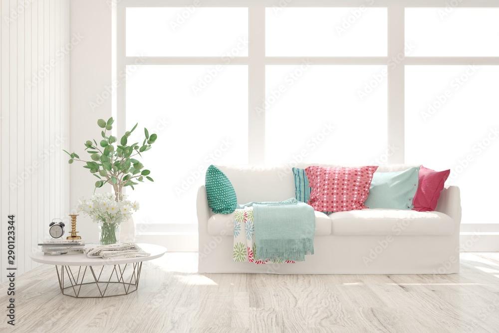 Fototapeta Stylish room in white color with sofa. Scandinavian interior design. 3D illustration