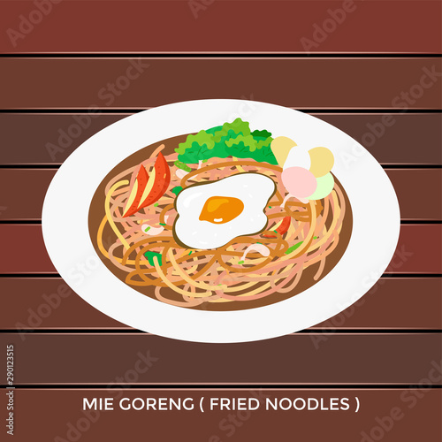Illustration Vector Mie Goreng Jawa Or Fried Noodles With Egg And Vegetariant And Spicy Chili Indonesia Street Food Stock Vector Adobe Stock