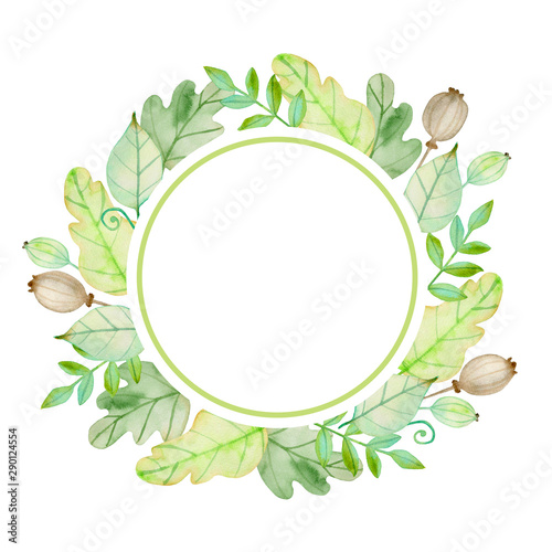 Photo  Watercolor autumn floral round banner